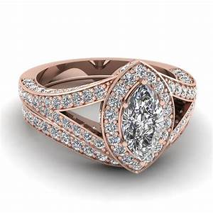 Rose Gold Marquise White Diamond Engagement Wedding Ring ...