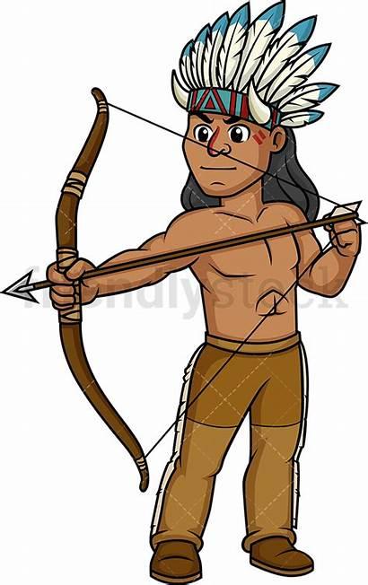 Native American Archer Cartoon Indian Clipart Vector