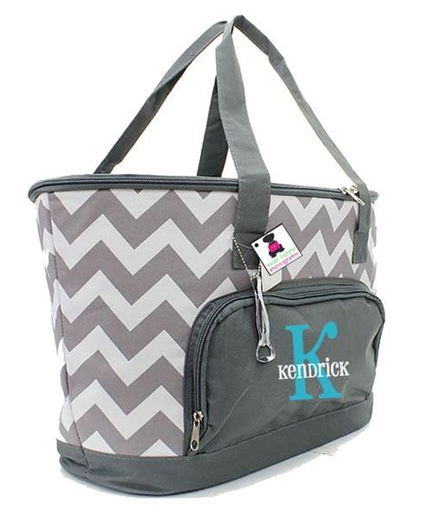 monogrammed insulated cooler bag gray white chevron