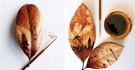 coffee leaf paintings created  morning coffee