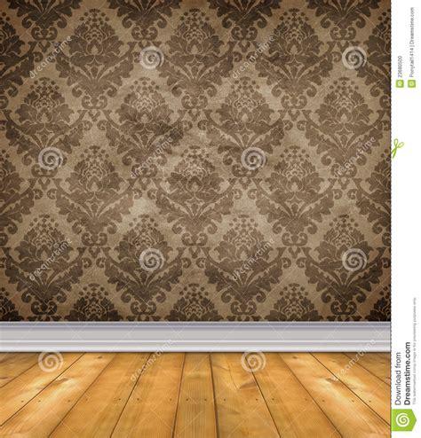 empty damask room  bare floors stock photo image