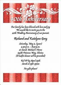 ruby 40th anniversary party invitation add details on back With cheap 40th wedding anniversary invitations