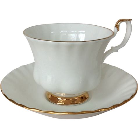 white china royal albert val d 39 or white bone china cup and saucer with