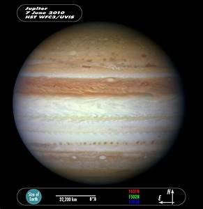 Compass and scale image of Jupiter | ESA/Hubble