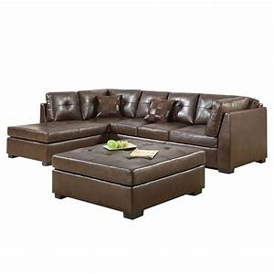 Coaster darie leather sectional sofa with ottoman in brown for Darie leather sectional sofa