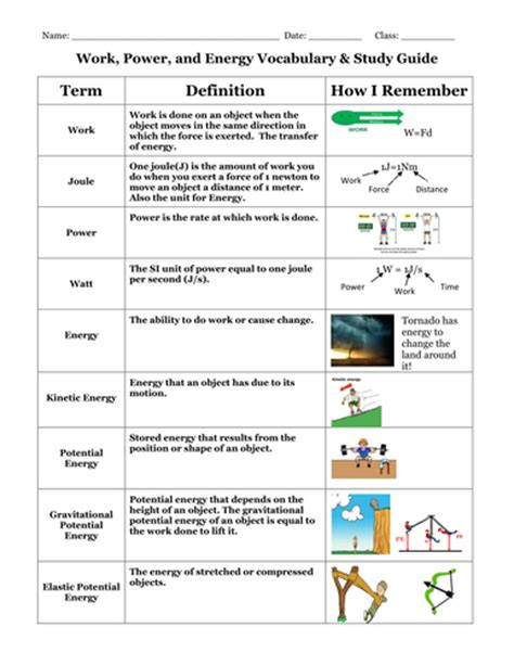 work power and energy vocabulary and study guide by