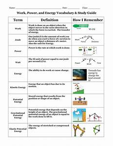 Work  Power  And Energy Vocabulary And Study Guide