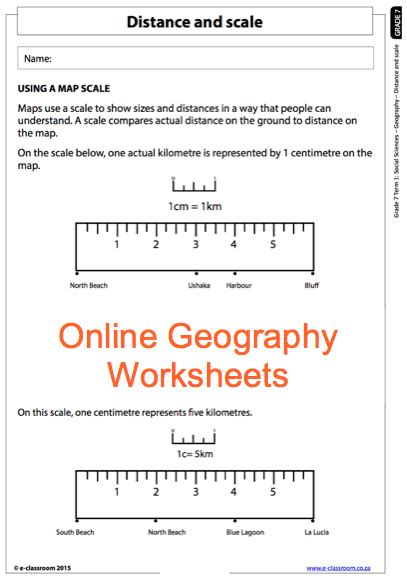 grade 7 geography worksheet distance and scale
