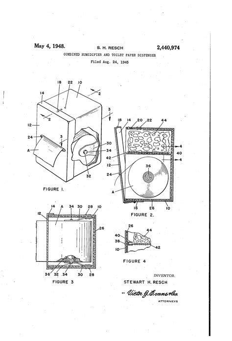 Dispense Patente by Patent Us2440974 Combined Humidifier And Toilet Paper