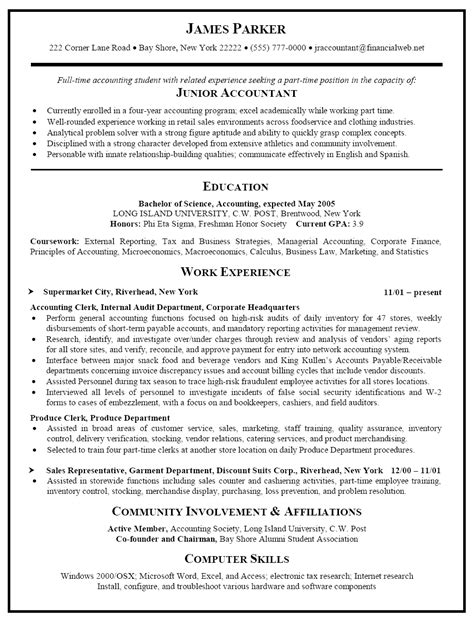 Junior Accountant Resume Templates by Resume Sle For Junior Accountant