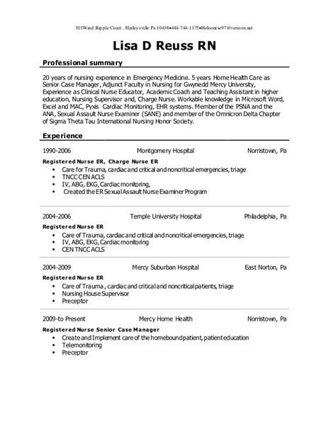 Registered Professional Summary s resume