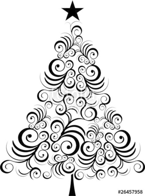 christmas tree black outline stock image  royalty