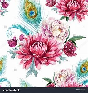 Watercolor Pattern Chrysanthemum Flowers Peacock Feather