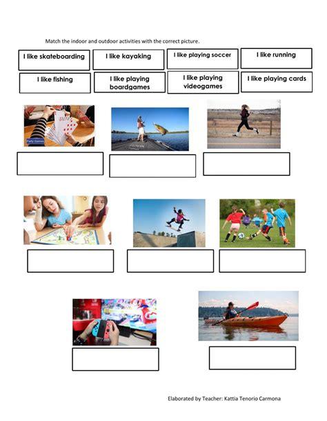 indoor  outdoor activities interactive worksheet