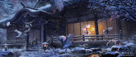 Anime Winter Wallpaper - wallpaper japan birds animals anime snow