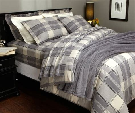 queen flannel duvet cover pinzon lightweight cotton flannel duvet cover grey plaid buy in uae