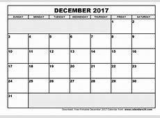 December 2017 Calendar Template 2018 calendar printable