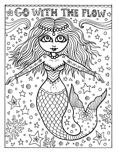 instant  coloring page mermaid adult coloring page