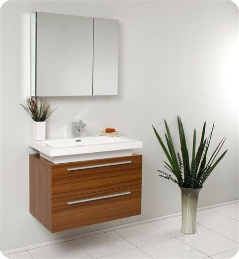 fresca medio  teak modern bathroom vanity  medicine