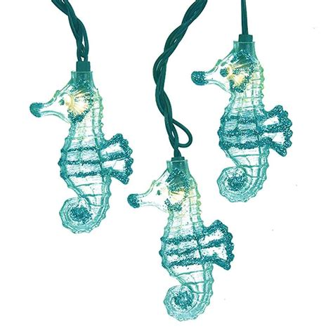 glittered teal seahorse string lights under the sea