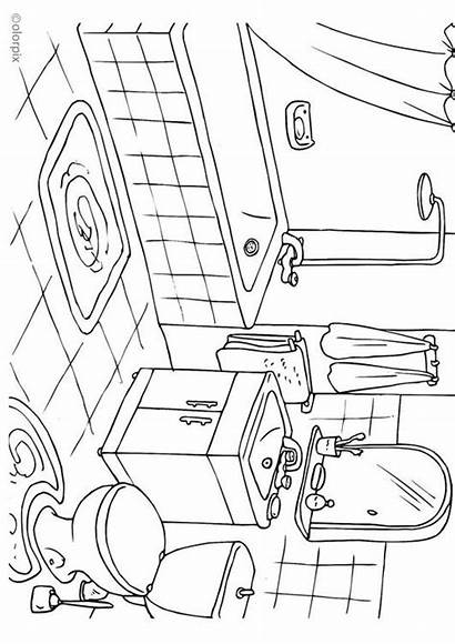 Bathroom Coloring Sheets Pages Badkamer Printable Kleurplaat