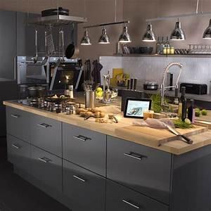 les 25 meilleures idees de la categorie plans de travail With cuisine grise plan de travail bois