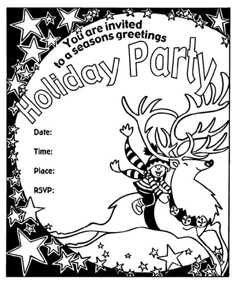 Seasons Greetings Party Invitation - Reindeer Coloring ...