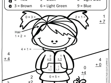 Coloring Addition Worksheets Sheets Math Pages Color For