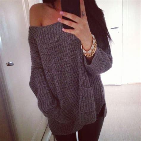 Sweater grey oversized sweater jeans bracelets pocket jumper knitwear grey sweater ...