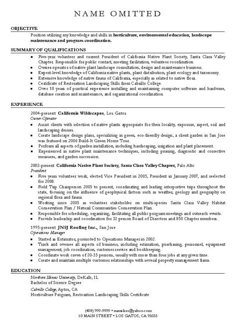 Landscaping Resume Description by Aia Resume Sle