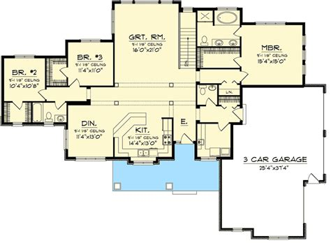 bedroom sprawling ranch home plan ah architectural designs house plans