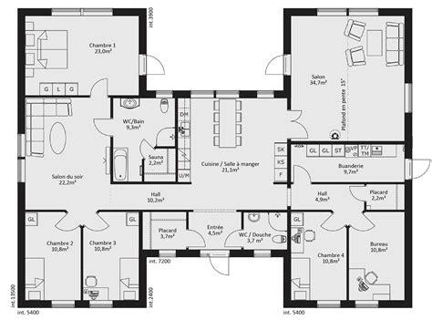 plan de maison de plain pied 3 chambres cuisine maison de piã ces avec cuisine ouverte surface