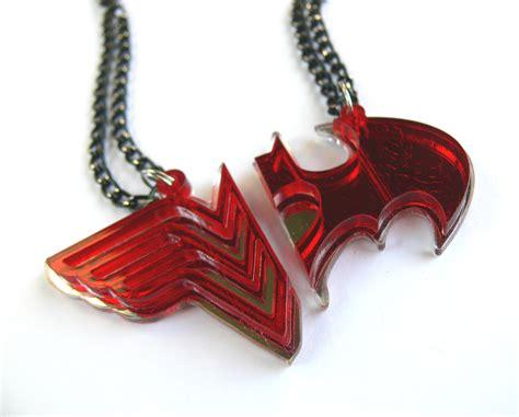 woman batman couple necklaces laser cut  mirror