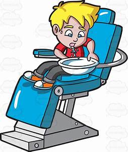 A Boy Gargling Water At The Dentist Cartoon Clipart ...