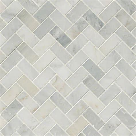 arabescato carrara herringbone pattern honed tile mosaics