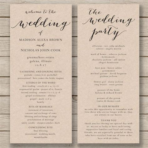 Wedding Program Template Wedding Program Template Printable Wedding Program Diy