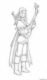 Elf Lute Bard Print Elves Playing Fran Sparad sketch template
