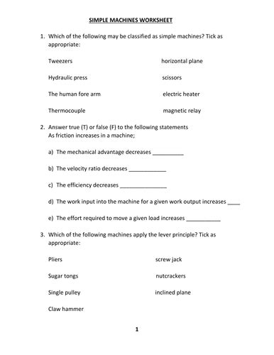 simple machines and mechanical advantage worksheet answers yooob org