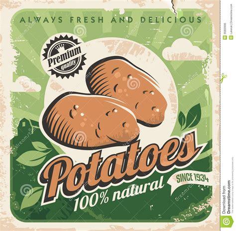 affiche vintage cuisine vintage poster template for potato farm stock vector