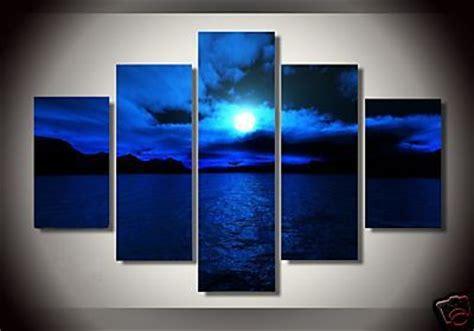 oil paintings  canvas dark blue ocean white sun high