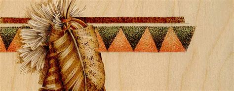 indian feathers  geometric  border pyrography