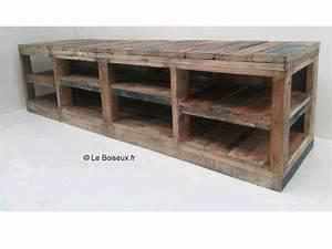 Meuble Bas Bois : meuble bas ouvert tout en bois color s plateaux de table en bois recycl sur mesure ~ Teatrodelosmanantiales.com Idées de Décoration