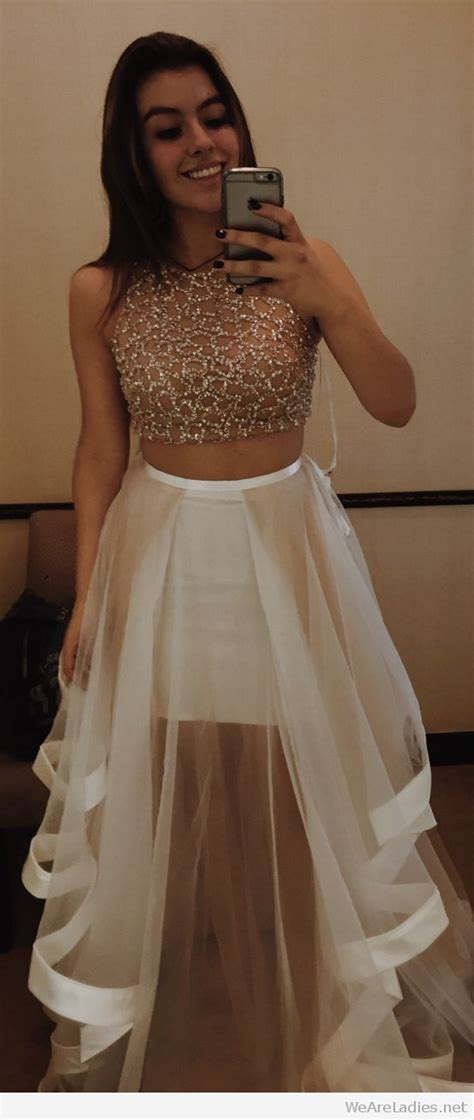 Awesome white prom skirt and crop top
