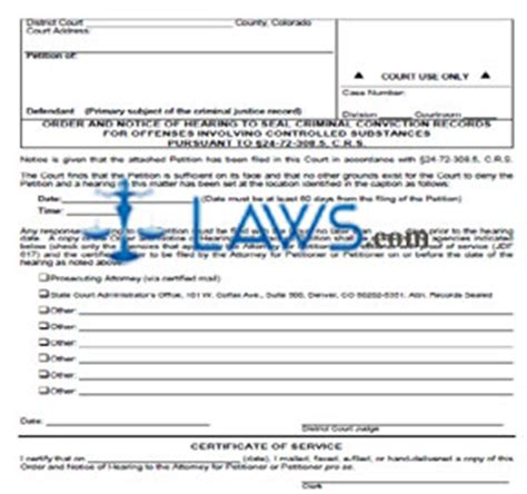 petition to seal form arkansas order and notice of hearing colorado forms laws