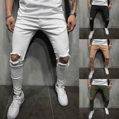 Pants Skinny Hole Ripped Holes Waist Slim