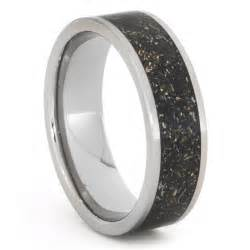 Titanium Ring with 14K Gold and Meteorite Shavings in Black or White