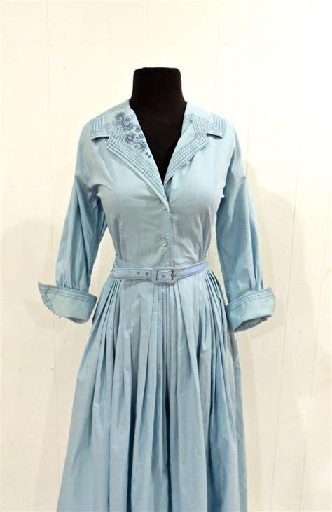 light blue vintage dress vintage light blue day dress 1950s abby kent cotton by mkmack