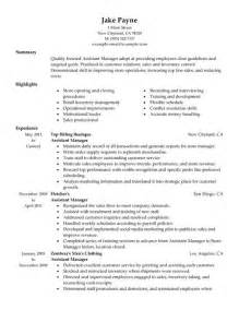 retail assistant manager resume sle resume assistant manager retail sle resume