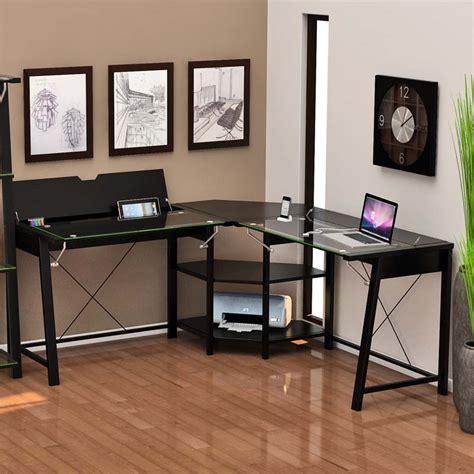 glass desk with storage z line designs vance corner desk with hidden storage black