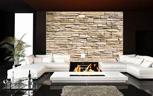 Wandbilder Zum Kleben : steinmauer wanddekoration wohnzimmer steinwand beige ~ Lizthompson.info Haus und Dekorationen